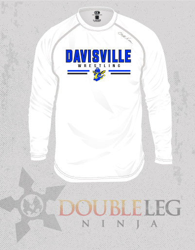 Davisville Wrestling - Cliff Keen MXS Loose Gear Long Sleeve , Long Sleeve Shirt - Double Leg Ninja, Double Leg Ninja