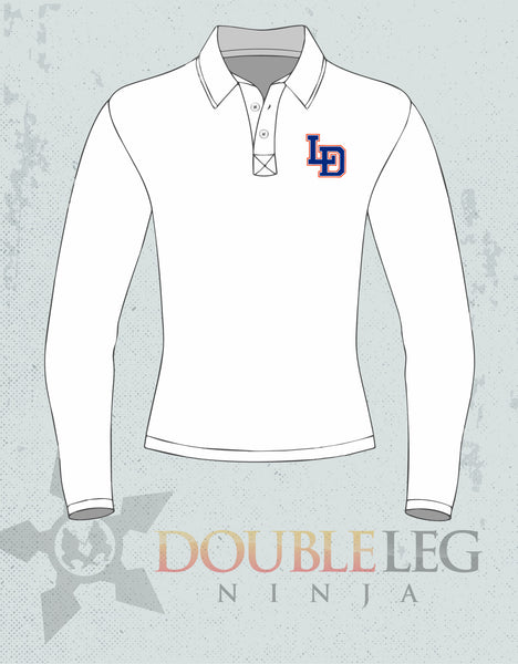 Lee-Davis Wrestling - Nike Long Sleeve Polo , Polo - Double Leg Ninja, Double Leg Ninja