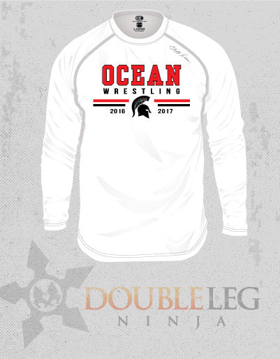 Ocean Youth Wrestling - Cliff Keen MXS Loose Gear Long Sleeve , Long Sleeve Shirt - Double Leg Ninja, Double Leg Ninja - 1