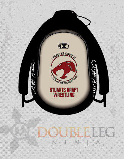 Stuarts Draft Wrestling - Cliff Keen Gear Bag , Custom Backpack - Double Leg Ninja, Double Leg Ninja
