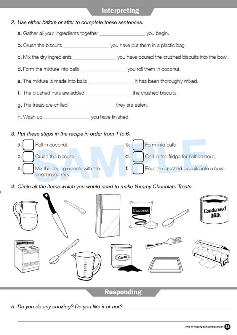 Year 4 Reading Books Worksheet Image- Time For Reading Comprehension