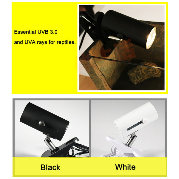 UVA+UVB 3.0 Reptile Lamp Kit with Clip-on Ceramic Light Holder Turtle Basking UV Heating Lamp Set