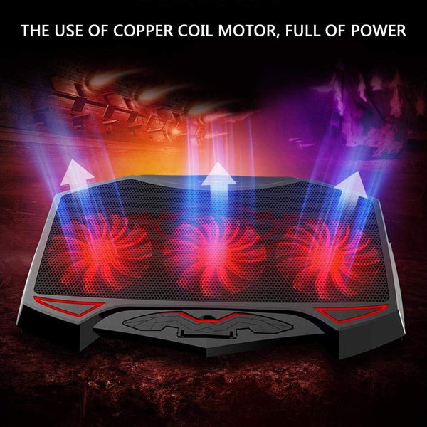 Laptop Cooling Pad Chill Mat with 3 Quiet Fans USB Powered Adjustable Mounts Stand For Laptop PC
