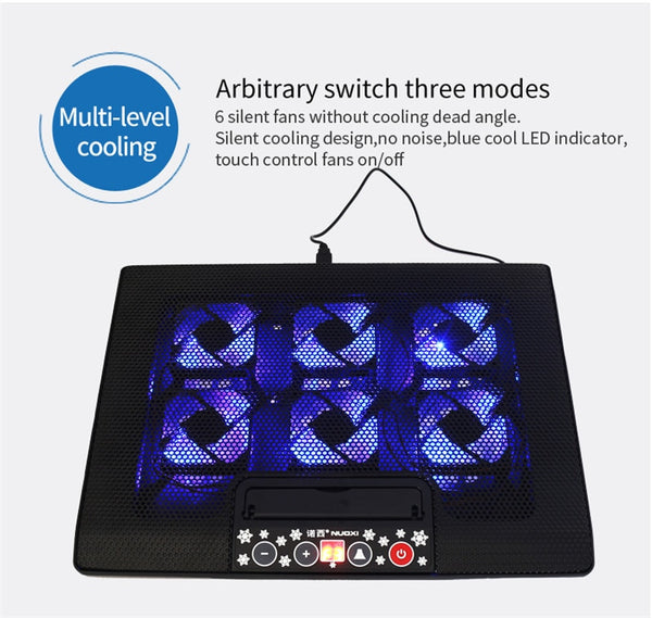 Silent Cooler Notebook Aluminum Cooling Pad Base with LED 6 Fans Laptop Notebook Cooler USB Port