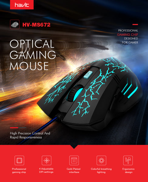 Wired Gaming Mouse USB with 7 LED Back-light Ergonomic Computer Mouse Gamer For PC Laptop Desktop