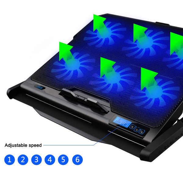 Laptop Cooling Pad with 6 Cooling Fans and Double USB Ports with Light LCD Display Laptop Stand