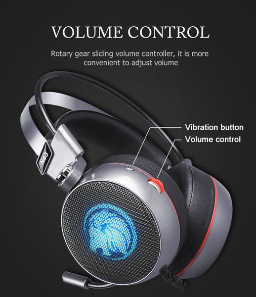 Stereo Gaming Headset 7.1 Virtual Surround Bass Gaming Headphone with Mic LED Light for Gamer