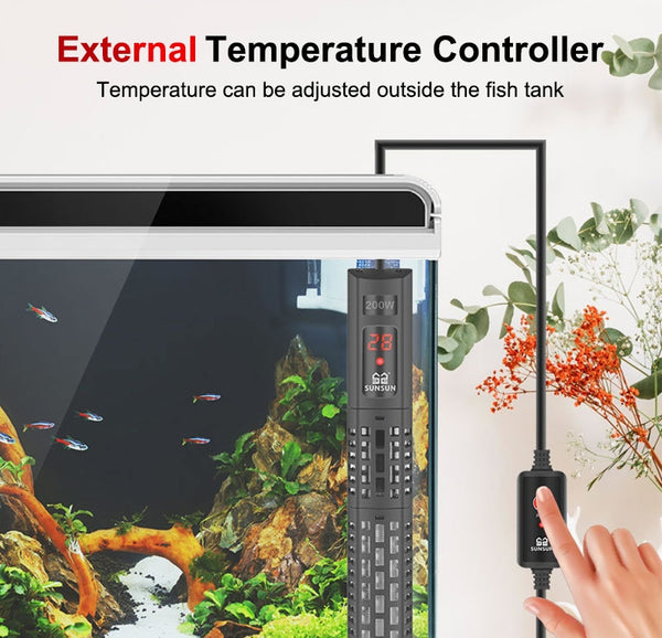 Aquarium Submersible Heater Fish Tank LCD Display Digital Adjustable with Temperature Control