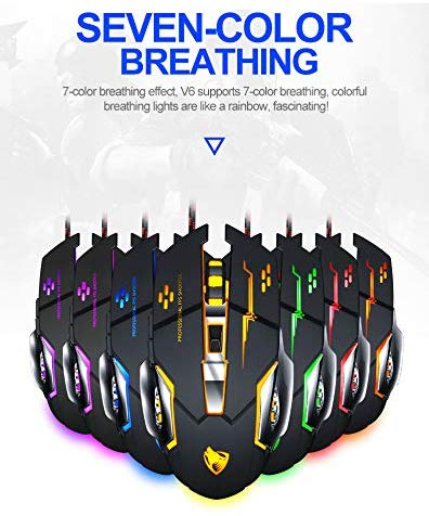 T-WOLF V6 Gaming Mouse Wired Breathing RGB Light USB Computer with 6 Buttons for PC Gamer Mouse