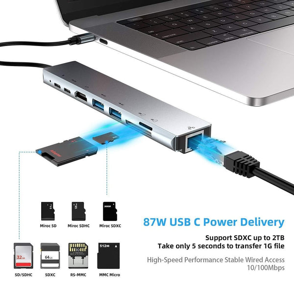 USB Docking Station 8 in 1 Type-C to 4K HDMI RJ45 Docking Station USB 3.0 TF PD Charger Hub Adapter