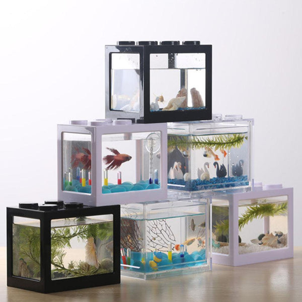 Creative Multi-color Stack-able Building Blocks Ecological Mini Aquarium Fish Tank Box Landscape