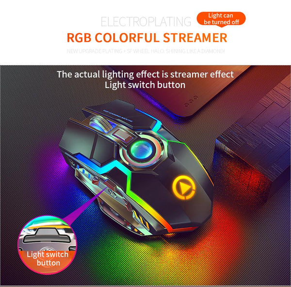 Wireless Rechargeable Gaming Mouse Silent Ergonomic 7 Keys RGB Back-lit for Laptop Computer Gamer