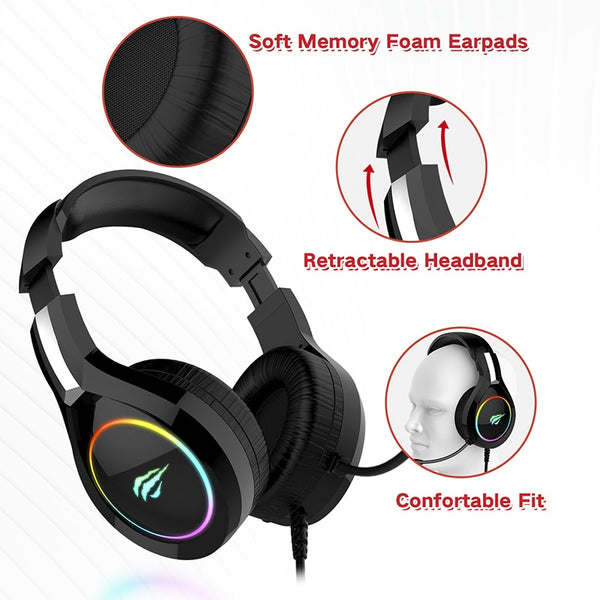 Gaming Headset USB 3.5mm Wired with 50MM Driver, Surround Sound & HD Microphone for Computer Laptop