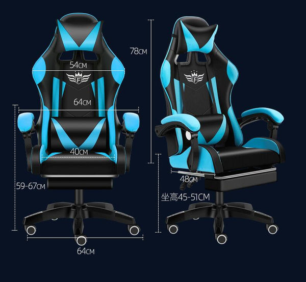 Gaming Chair Ergonomic Adjustable Swivel Office Racing Chairs Game Seat Lumbar Support and Headrest