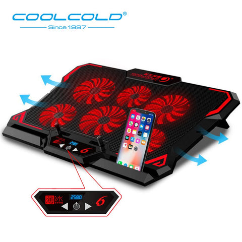 Gaming Laptop Cooling Notebook Pad 6 Silent LED Powerful Air Flow Portable Adjustable Laptop Stand