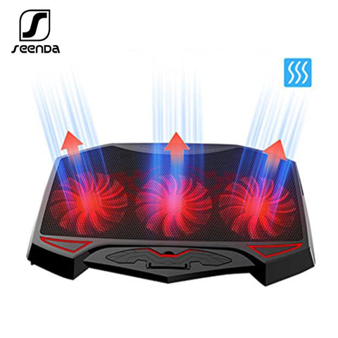 Seenda 3 Fans Laptop Cooler Laptop Cooling Pad Dual USB Adjustable Notebook Holder for Laptop PC