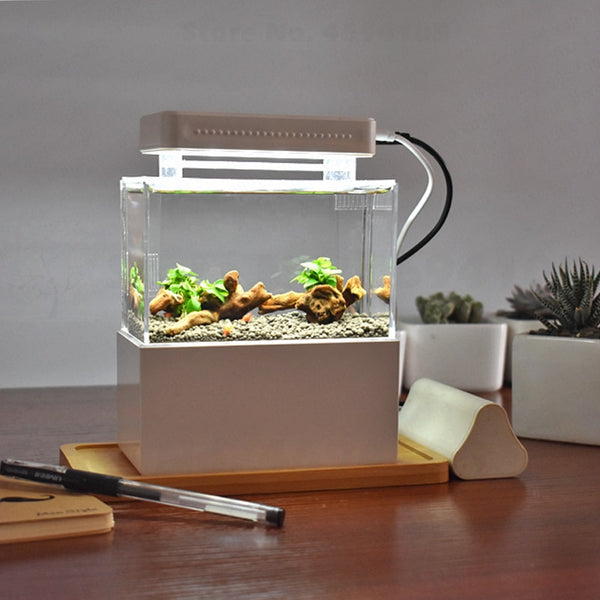 Portable Desktop Mini Plastic Fish Tank Aquarium with Water Filtration LED & Quiet Air Pump Decor