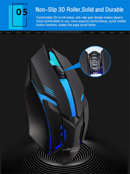 Gaming Mouse 7 Colors LED Back-light USB Wired Gamer Mouse Flank Cable Silent Mice Gaming Mouse