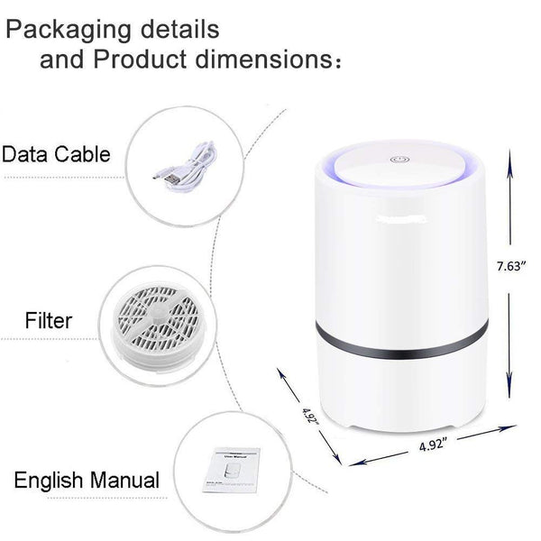 Air Purifier Air Cleaner for Home HEPA Filters 5v USB Cable Low Noise Air Purifier with Night Light