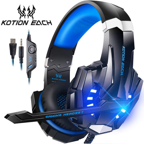 Gaming Headset Casque Deep Bass Stereo Game Headphone with Microphone LED Light for Laptop PC Gamer