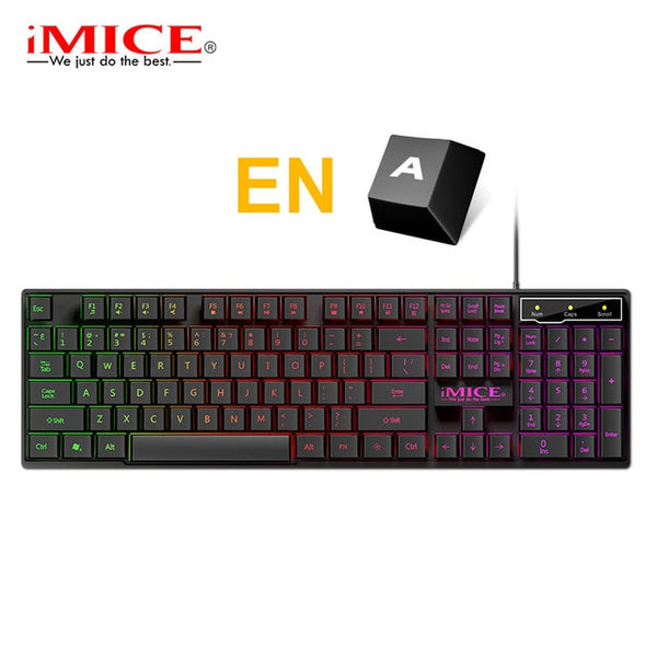 Gaming Keyboard with 104 Key-caps Wired RGB Back-lit Gamer Keyboard Ergonomic For Laptop