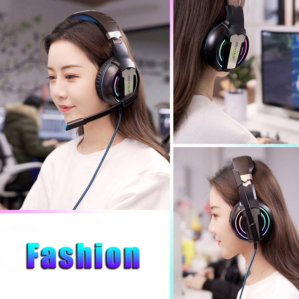 Gaming Headphones with Microphone Light Surround Sound Bass Earphones For Professional Laptop Gamer