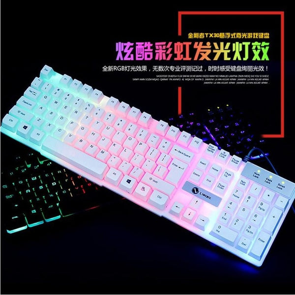 Gaming Keyboard Suspended Key-caps 3 Back-light Switching Gamer with Similar Mechanical Touch Feel