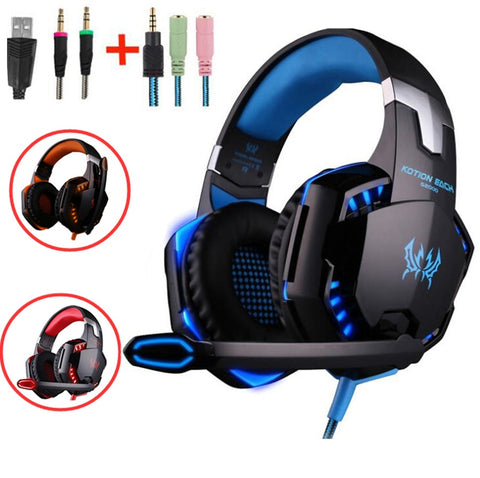 Gaming Big Headphones with Light Mic Stereo Earphones Deep Bass for PC Computer Gamer Laptop PS4