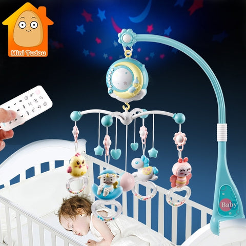 Baby Rattles Crib Mobiles Toy Holder Rotating Mobile Bed Bell Musical Box Projection