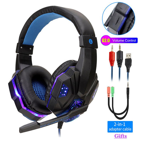 Professional LED Light Gaming Headphones Adjustable Bass Stereo Over Ear Wired With Mic for Gamer