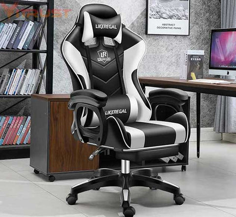 Gaming Racing Style Office Chair with Removable Headrest and High Back Ergonomic Gaming Chair