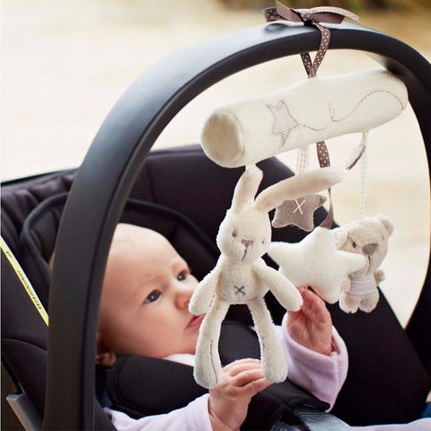 Rabbit Baby Hanging Bed Safety Seat Plush Toy Hand Bell Multi-functional Stroller Mobile Gifts