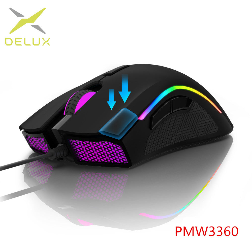 Delux Sensor 7 Programmable Buttons RGB Back-light Wired Gaming Mouse with Fire Key For FPS Gamer