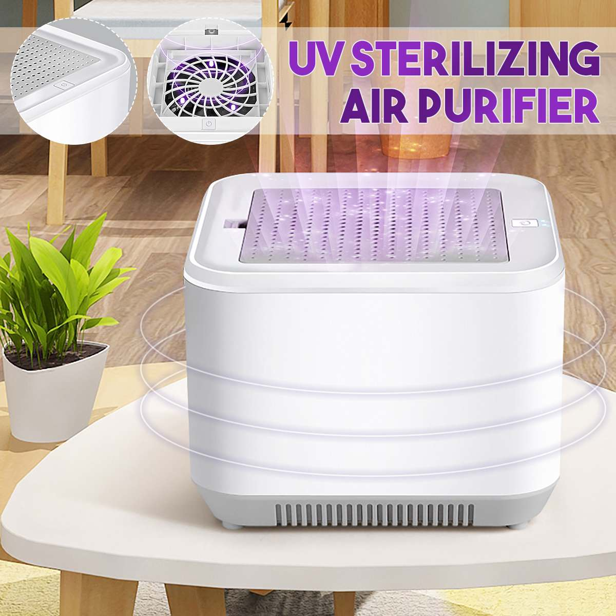 Air Purifier Odor Cleaner UV Lamp Sterilizer Box Home HEPA Filter Formaldehyde with Germicidal Light