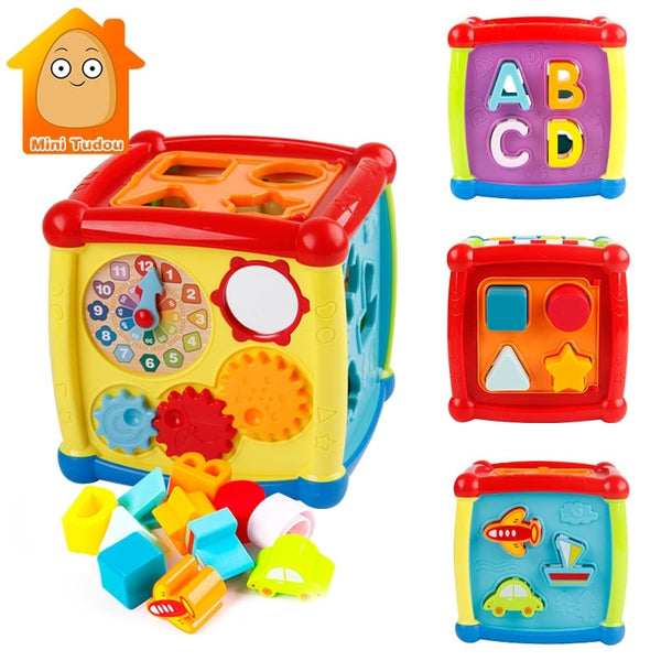 Multi-functional Musical Toys Box with Electronic Gear Clock Geometric Blocks for Educational