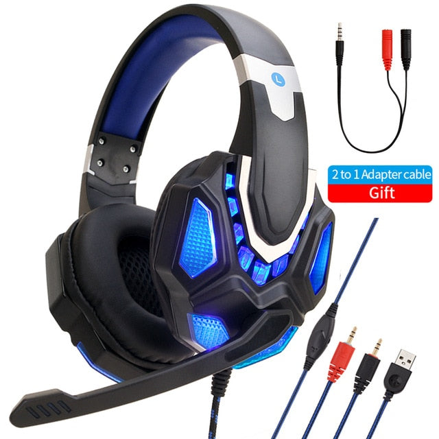 Gaming Computer Headset Wired Laptop Phone PC LED Headset With Microphone For PS4 Xbox One Computer