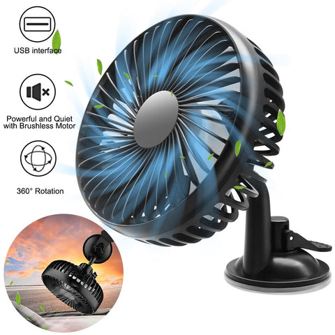 12V/24V Mini Car Fan ABS Black Auto Single with USB Universal Car Suction Seat Back Cooling Fan