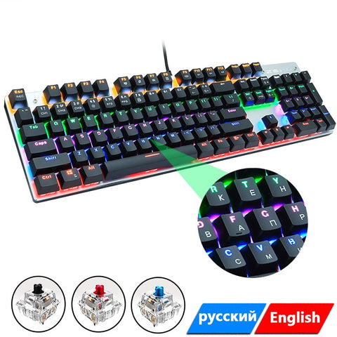 Wired Gaming Mechanical Keyboard Blue/Black/Red Switch 104 Keys Anti-ghosting LED Back-lit for Gamer