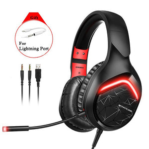 Wired Gaming Headset with Microphone Over the Ear LED Studio Headphones Type C Earphone 3.5mm Plug