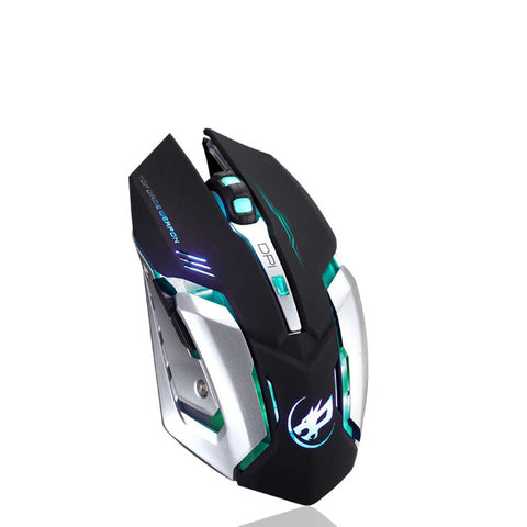 Rechargeable Wireless Silent Gaming Mouse with Colorful Lights, 4 Gears and Lithium Battery for PC