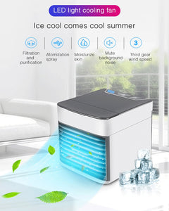 Mini Air Conditioning in Cars Conditioner Light Humidifier Purifier USB Desktop Air Cooler Fan