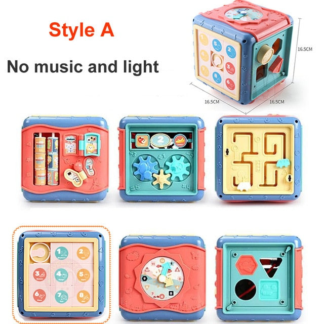 Baby Toys Activity Play Cube Six-Sided Box Montessori Shape Match Development Educational Toy