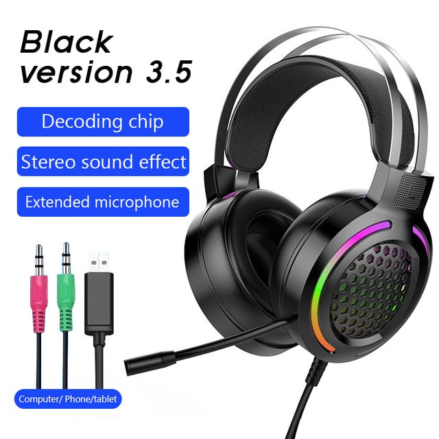 Gaming Headset Bluetooth Earphone Wired with 7.1 Surround Stereo Sound and Mic LED light for Gamer