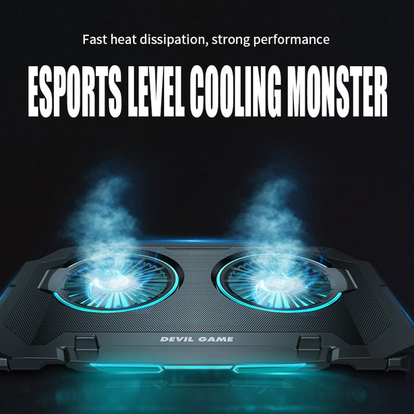 Gaming Laptop USB Cooling with 2 Fans 2 USB Port LED RGB Lighting Laptop Stand for 12-17 inch Base