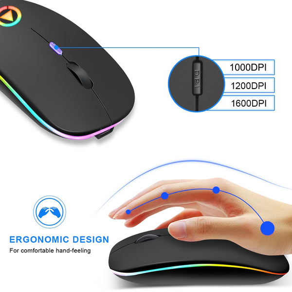 Rechargeable Wireless Mouse Silent LED Back-lit USB Optical Ergonomic Gaming Mouse for Laptop & PC
