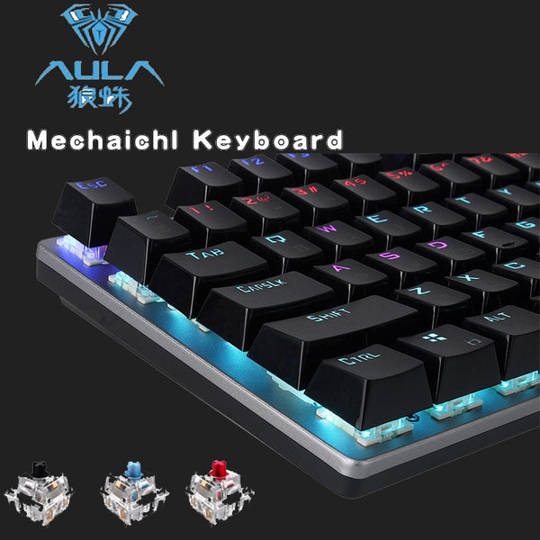 AULA Mechanical Keyboard 104 Anti-ghosting Luminous Switch Back-lit Wired Gaming Keyboard English