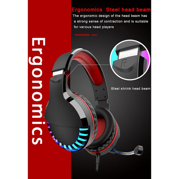 Wired Gaming Headphones Colorful Glowing Stereo Gaming Headset Headphone With Mic for PC Computer