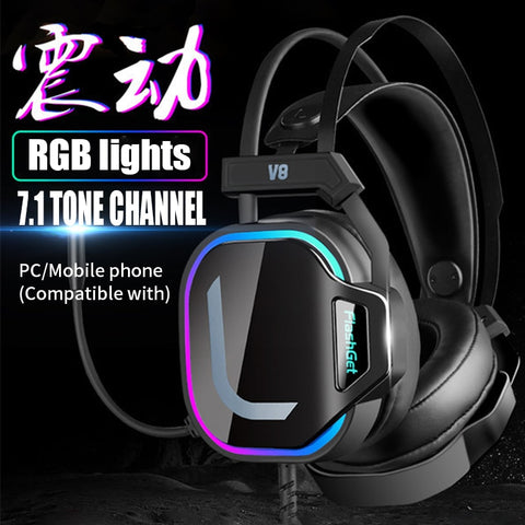Gaming Headsets USB Wired Headphones Surround Sound RGB Light with Microphone for Laptop Gamer