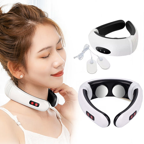 Electric Pulse Back And Neck Massage Far Infrared Heating Therapy Pain Cervical Massage Collar