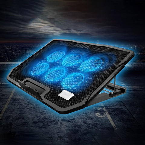 Portable Laptop Cooler With 6 Fans Cooling USB Ports with Adjustable Speed Computer Fan Base Plate
